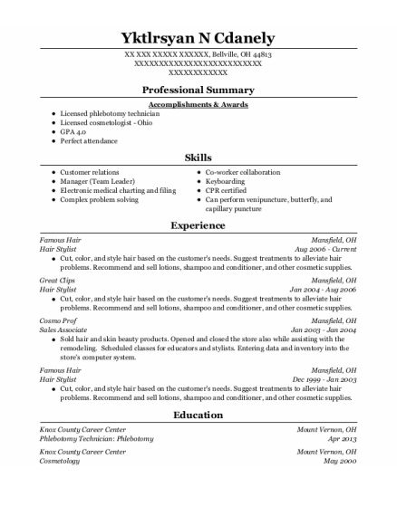 Hair Stylist resume format Ohio