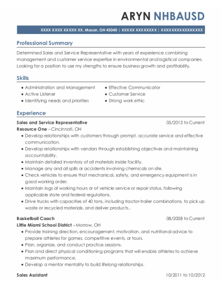 Sales and Service Representative resume template Ohio