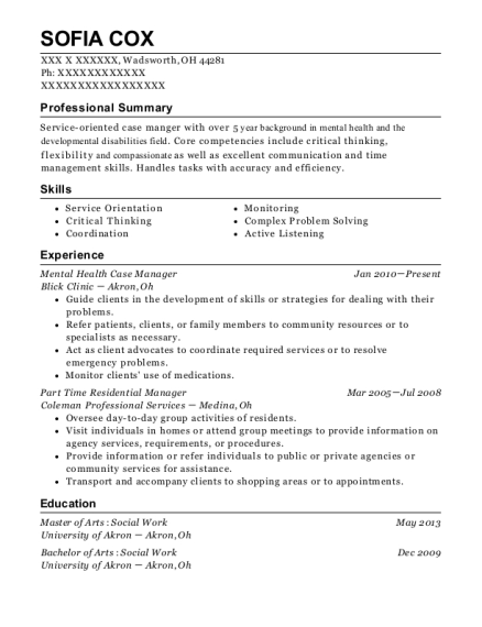 Mental Health Case Manager resume format Ohio