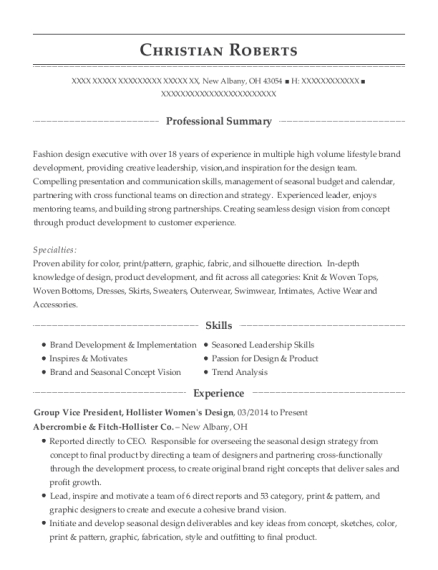 Group Vice President resume template Ohio