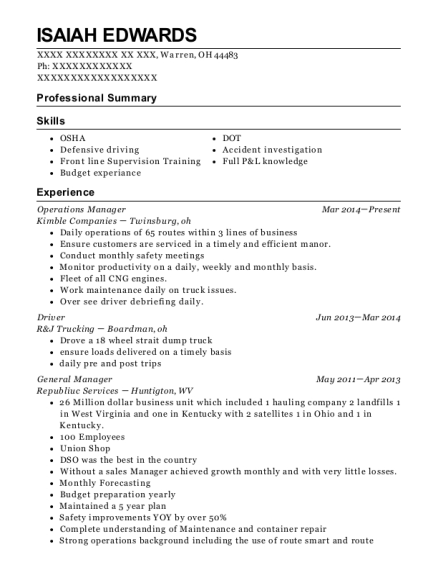 Operations Manager resume sample Ohio