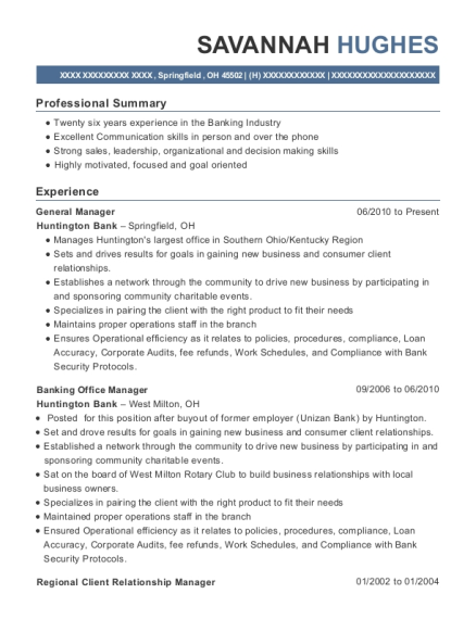 General Manager resume template Ohio