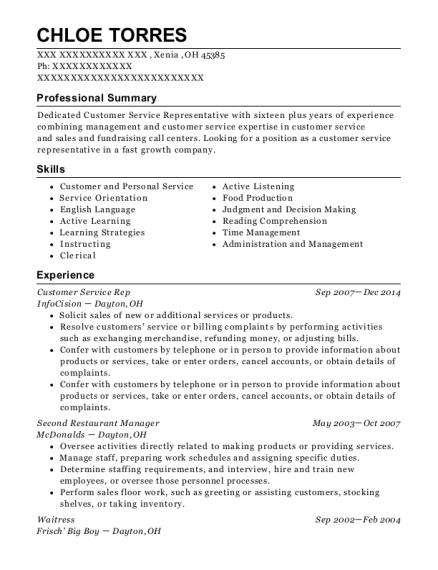 Customer Service Rep resume sample Ohio