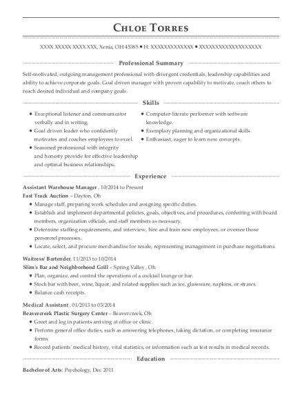Assistant Warehouse Manager resume sample Ohio