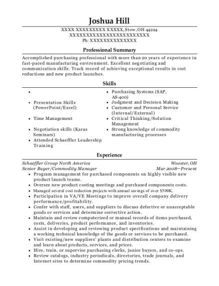 Senior Buyer resume example Ohio