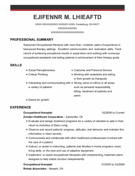 Occupational Therapist resume template Ohio