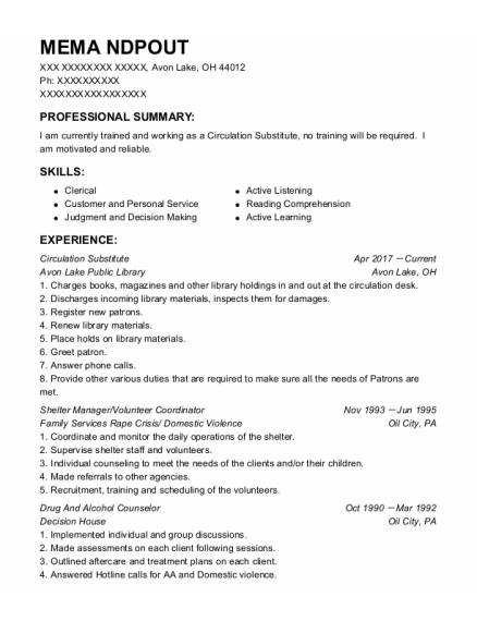 Volunteer Coordinator resume template Ohio