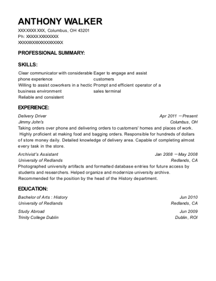 Delivery Driver resume sample Ohio