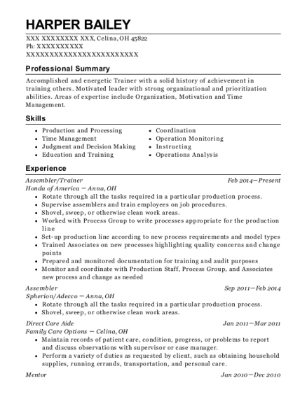Assembler resume template Ohio