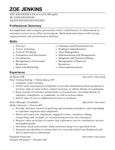 At Home CSR resume example Ohio
