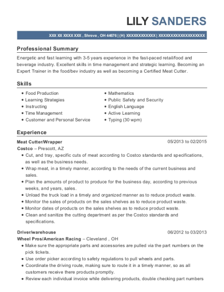 Meat Cutter resume template Ohio