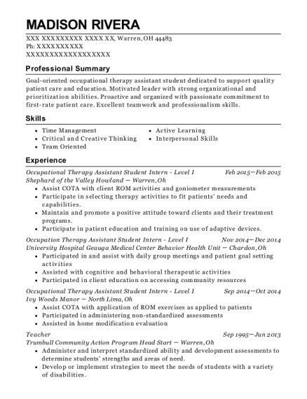 Occupational Therapy Assistant Student Intern Level I resume example Ohio
