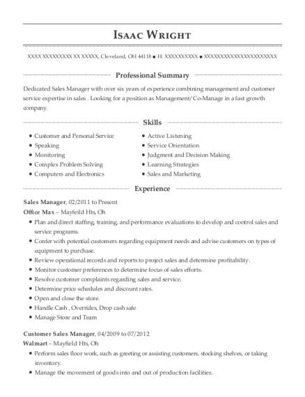 Sales Manager resume example Ohio