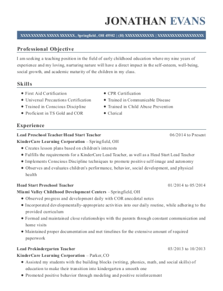 Lead Preschool Teacher resume format Ohio