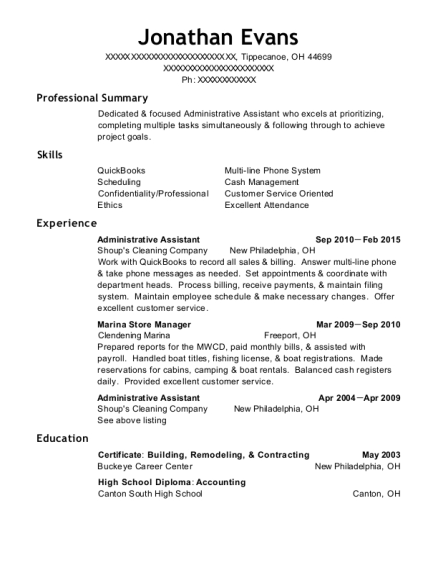 Administrative Assistant resume sample Ohio