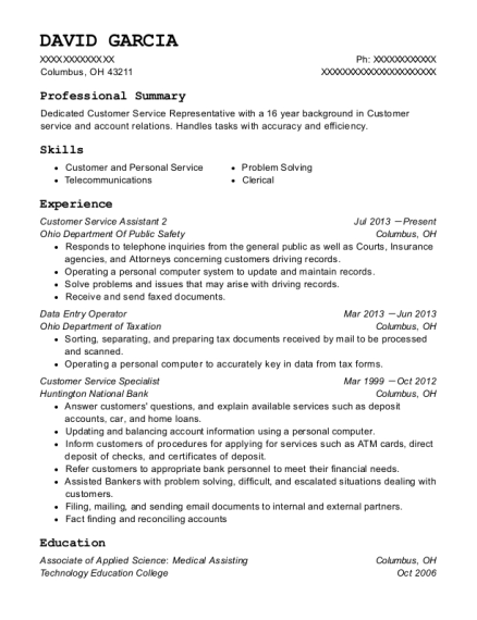Customer Service Assistant 2 resume example Ohio
