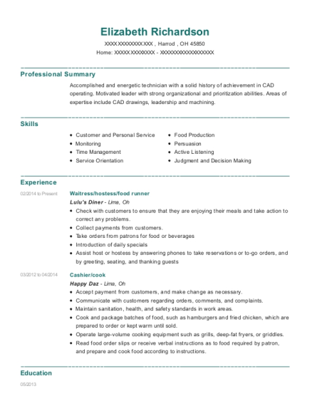 Waitress resume template Ohio