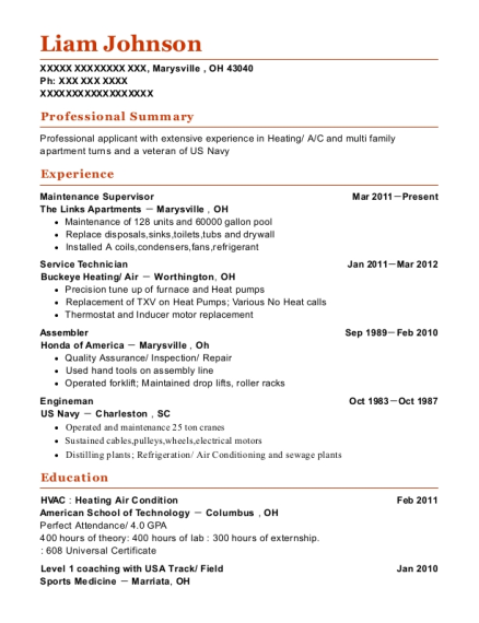 Maintenance Supervisor resume template Ohio