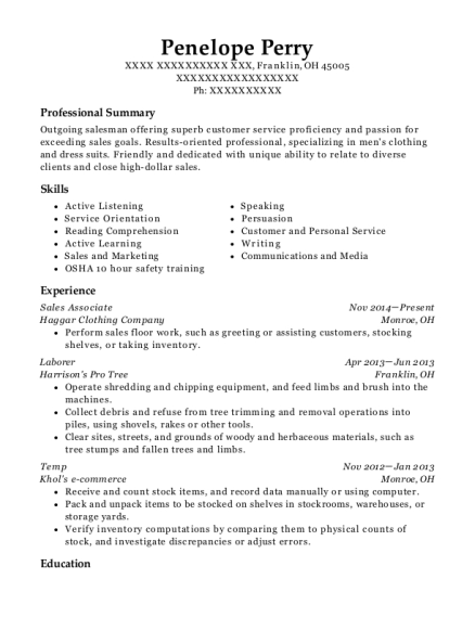 Sales Associate resume example Ohio