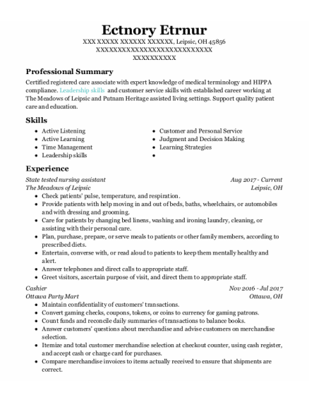 State Tested Nursing Assistant resume format Ohio