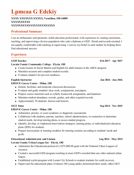 English Instructor resume example Ohio