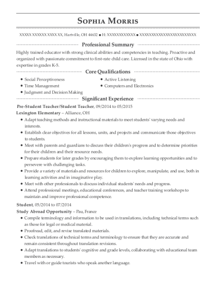Pre Student Teacher resume sample Ohio