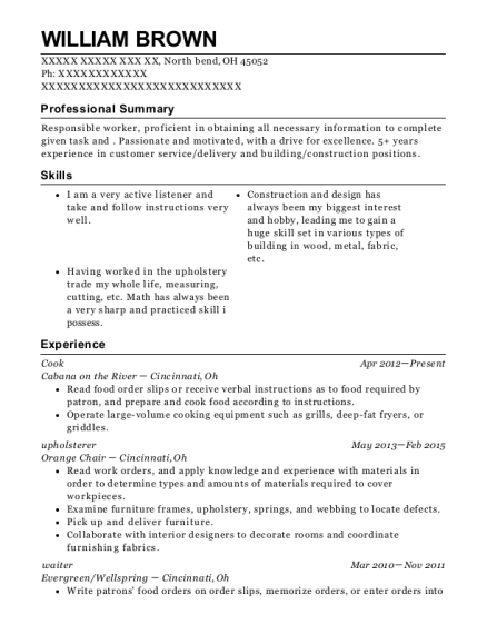 Cook resume template Ohio
