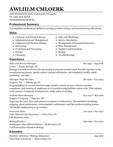 Sales And Service Manager resume format Ohio