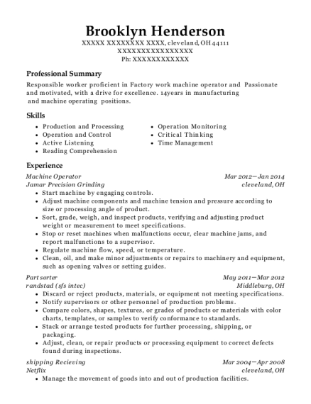 Machine Operator resume example Ohio