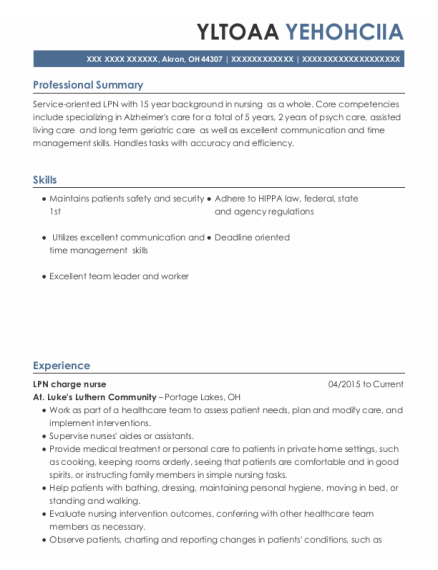 Lpn Charge Nurse resume example Ohio