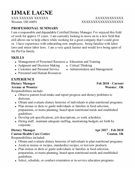 Dietary Manager resume template Ohio
