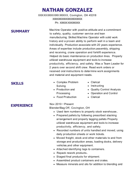 Production Associate resume sample Ohio