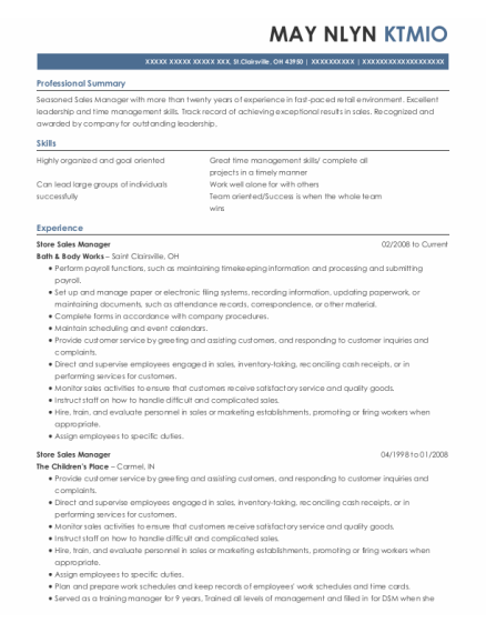 Store Sales Manager resume template Ohio