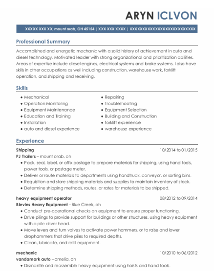 Shipping resume template Ohio