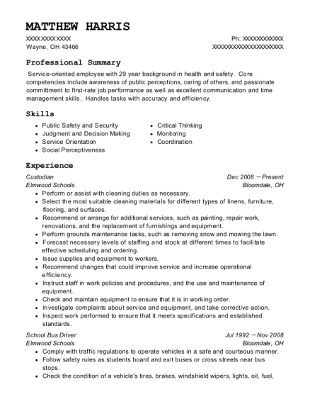 Custodian resume sample Ohio
