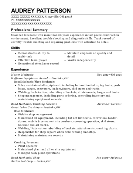 Master Mechanic resume format Ohio