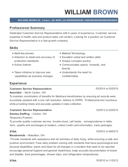 Customer Service Representative resume example Ohio