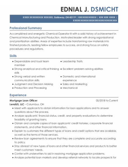 Mortgage Loan Officer resume template Ohio