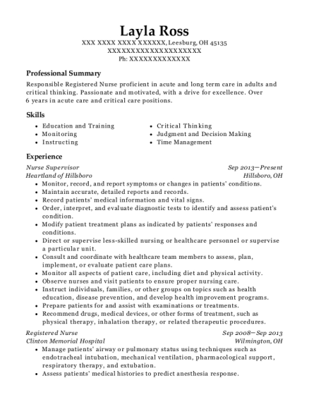 Nurse Supervisor resume example Ohio