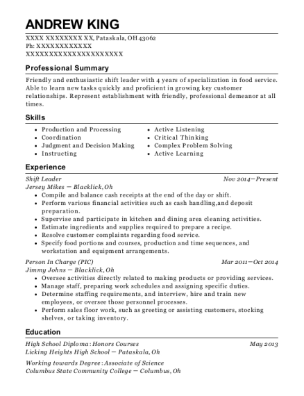 Shift Leader resume sample Ohio