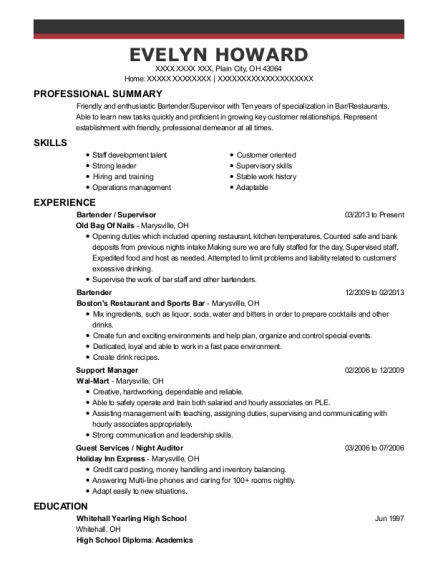 Bartender resume example Ohio