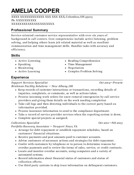 Support Services Specialist resume sample Ohio