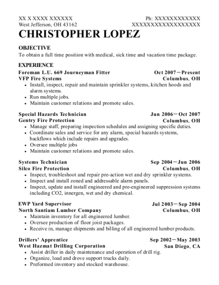 Foreman LU 669 Journeyman Fitter resume sample Ohio
