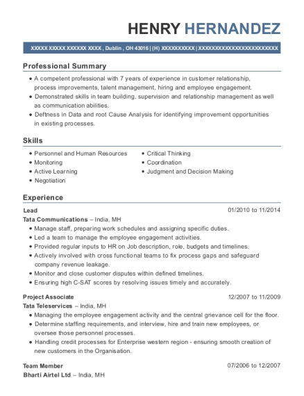 Lead resume sample Ohio