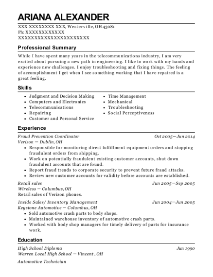 Fraud Prevention Coordinator resume template Ohio