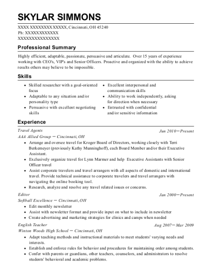 Travel Agents resume template Ohio