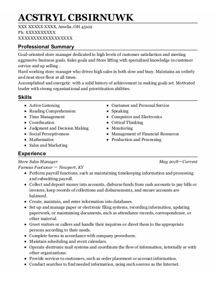 Store Sales Manager resume example Ohio