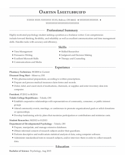 Pharmacy Technician resume example Ohio