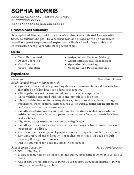 Lineman resume example Ohio