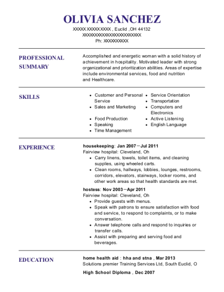 Housekeeping resume format Ohio
